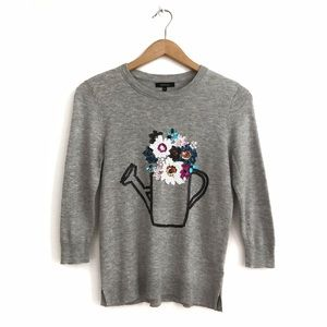 RW&Co Wool Blend Floral Embellished Sweater S Grey